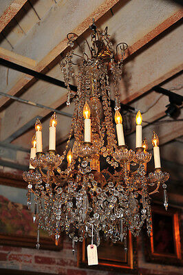 Antique French bronze Crystal Chandelier c.1890s
