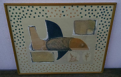 Vintage Original Mid Century Modern Painting or Print, Signed Slusarinko, Shark