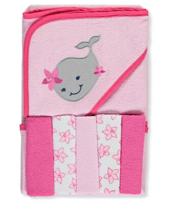 """Luvable Friends """"Whale"""" Hooded Towel & Washcloth Set"""
