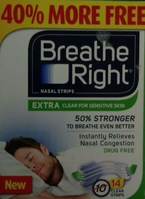 Breathe Right Nasal Strips, Extra Clear, Drug-Free, 14 Strips