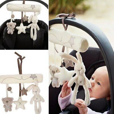 Baby Kids Pushchair Stroller Mobile Crib Developmental Music Hanging Plush Toys