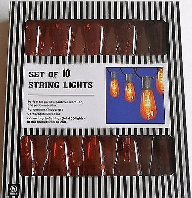 HALLOWEEN Edison Style String Lights End To End Connection 10 Ft Length Yellow