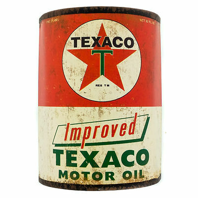 New Improved Texaco 3D Style  Motor  Oil  Tin Can Sign - Neat L@@k!!