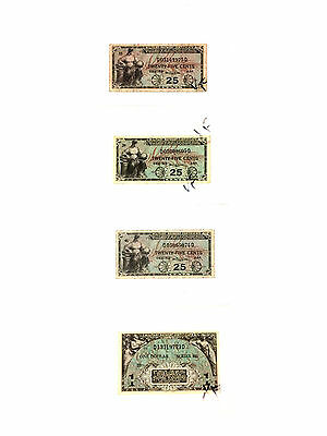 """""""United States"""" Military Payment Certificate Lot Of 4 Notes Series 481 - Used"""