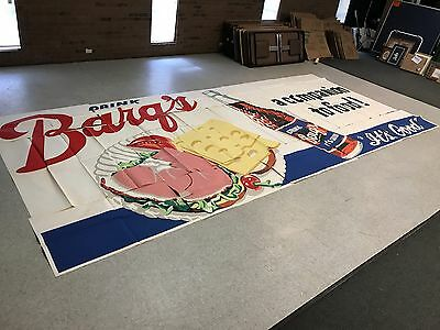 RARE 1963 Barq's Rootbeer Billboard Poster Sign With Large Blue Label Bottle