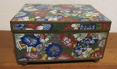 Vintage Hinged Lidded Footed Rectangular Cloisonne Box Paisley Floral Design