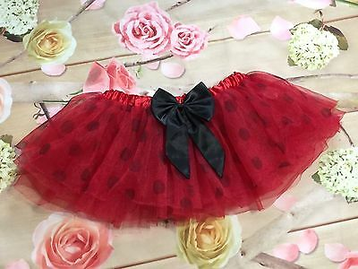 Minnie Mouse Style Tutu Skirt Toddler Size 3T -4T Girl Red Polka Dot Bow Elastic