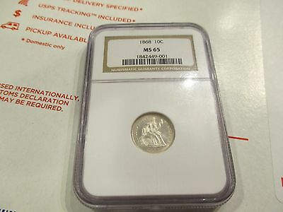 1868 Seated Dime Ms 65 Ngc