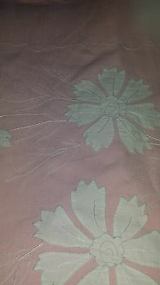 Rare Vintage French Pink Linen Sheet with Applique + One Matching Pillow Case