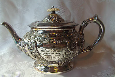 Victorian Silver Plate Ornate Teapot.  1904...AB881