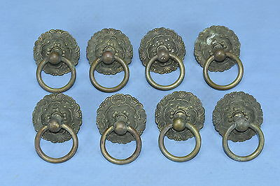 Antique SET of 8  ROUND VICTORIAN EMBOSSED BRASS DRAWER PULLS HARDWARE LOT #42A