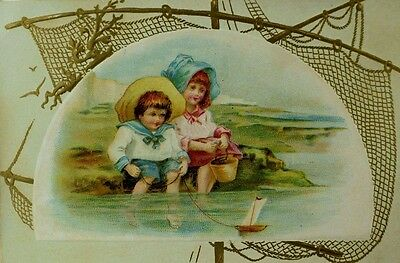 1870's-80's Victorian Trade Card Boy & Girl Sailor Suit Toy Sailboat Beach *K