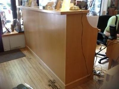 Retail Sales Counter, 7 feet long, blonde wood, many compartments