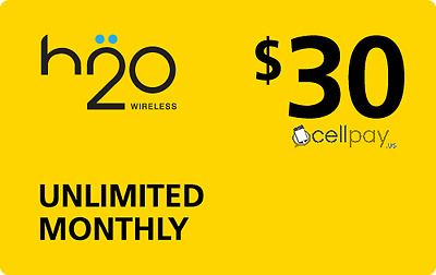 H2O Wireless $30 Monthly Unlimited Plan Refill! Mobile Reload Limited time offer