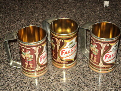 3 Vintage Falstaff Beer Cans Mugs Cups with Tin Handles Old School St. Louis, MO