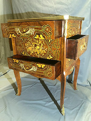 French Marquetry Side Cabinet Ormolu Mounts Cabriole Legs