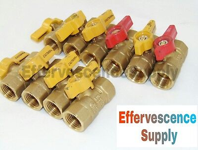 "(10) 1/2"" IPS Brass Gas Ball Valves - Natural Gas / Propane, CSA, Shut-Off Valve"