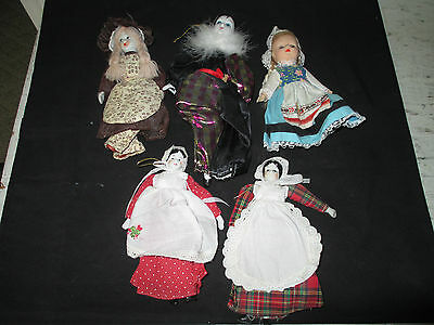 """Vintage Mixed Lot of 5 Dolls, Bisque, Porcelain, Rubber 7"""" to 10"""""""