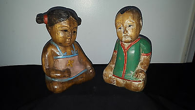 Antique Asian Hand Carved Wooden Boy and Girl Statues