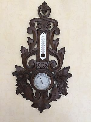 Large black forest French oak wood thermometer barometer hand carved