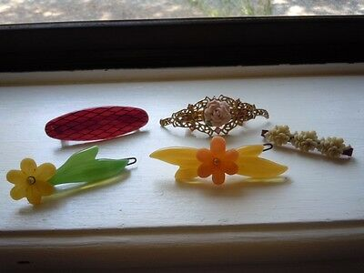 VINTAGE PLASTIC and METAL GIRLS HAIR BARRETTES 5 LOT 1980'S?