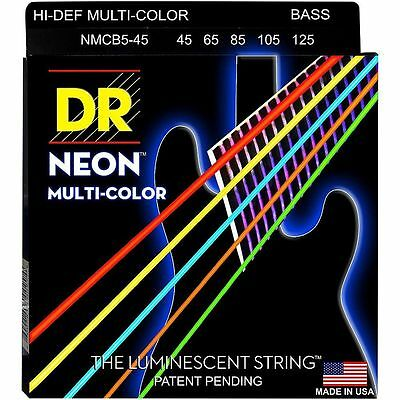 DR NMCB5-45 NEON HiDef  MULTI-COLOR COATED BASS STRINGS, MEDIUM 5's - 45-125
