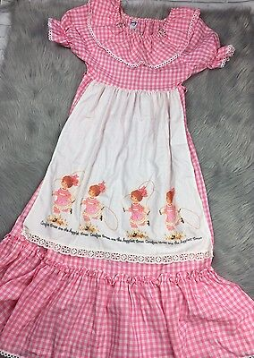 Vintage Girls Maxi Dress Pink White Gingham Apron Printed Lace Trim 1970s