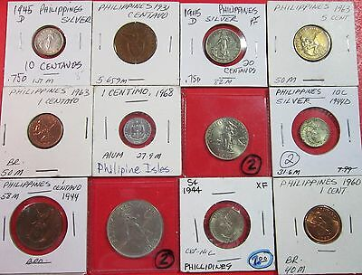 Philipinnes. Assorted Lot Of Of 12 Coins. 3 Silver. Circulated To Uncirculated.