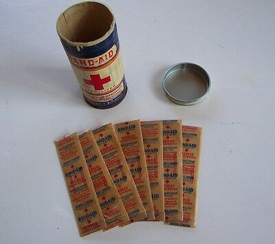 Antique Johnson & Johnson RED CROSS BAND-AID Container with 7 Original Bandages