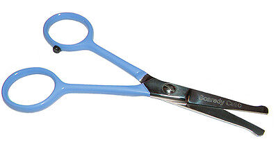 "TINY TRIM ball tipped small pet grooming scissor 4.5"" EAR NOSE FACE PAW,BLUE"