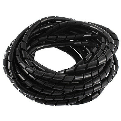8M 25ft 8mm Black Wire Spiral Wrap Sleeving Band Tube Cable Protector N2R8