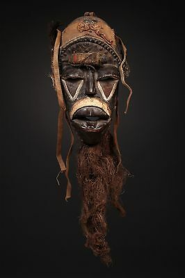 """Antique African Mask , Bete mask 16"""" X 12"""""""