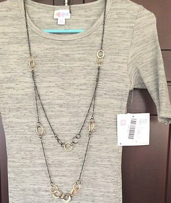 New LulaRoe Outfit: XS Julia Black & Cream/tan, Long Black & Gold Necklace