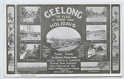 C1910 Pt Adv Postcard Holidays At Geelong Vic Local Publ. Henwood & Dancey M57
