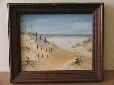 Signed Elna Woody Acrylic On Canvas Painting Landscape Beach