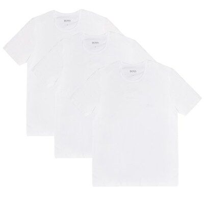 New Mens BOSS White Crew 3 Pack Cotton T-Shirt T-Shirts