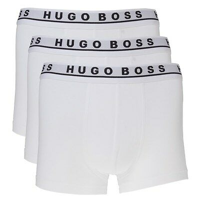 New Mens BOSS White 3 Pack Trunk Cotton Boxers