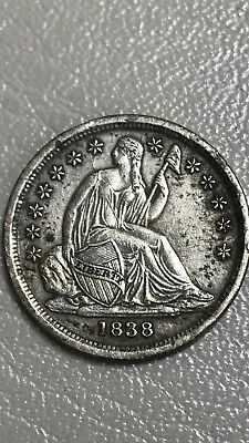 1838 Seated Liberty Dime F-111a  OBVERSE SPOTS ARE TONING, NOT DIGS OR BUMPS