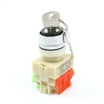 Rotary Selector 2 Position Key Lock Pushbutton Switch 660V 10A NO NC