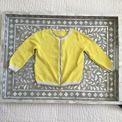 Country Road Baby Girl Yellow Cardigan With Silver Lured Trim 12-18 Months
