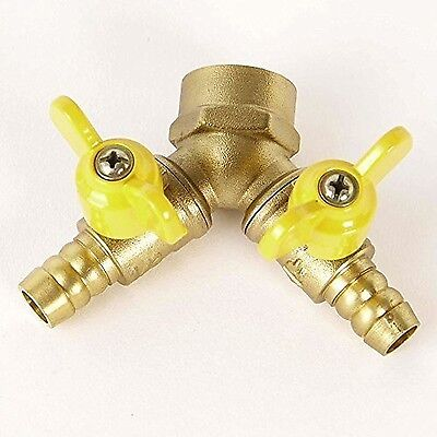 2-Way Splitter with Shut-Off Valves for Faucets and Valves 1/2Inch (YV01)