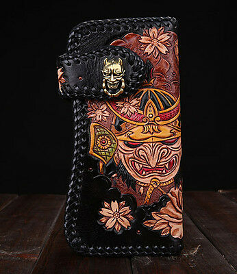 High quality Genuine Leather hand painted long chinese tranditional wallet