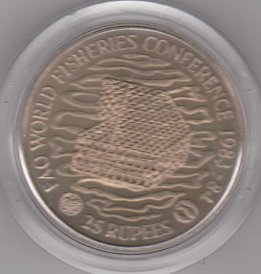 1983 Seychelles 25 Rupees Fao Fisheries Copper Nickel Crown With Capsule Unc