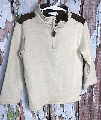Janie And Jack 1/2 Zip Shirt Pullover Sz 4T Elbow Patches Brown Tan Sweater 4