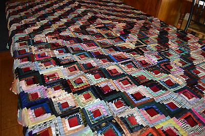 Antique crazy quilt top - vintage textile beautiful colors satin velvet etc.