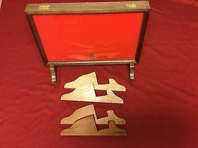 "Oak, Cherry, or Walnut Wood Display Stands made for 2"" Thick Cases"
