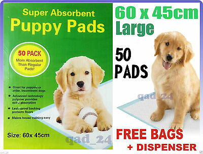 50 x Puppy Training Pads Dog Wee Mat Trainer Pack Pet Toilet - LARGE 60 x 45CM