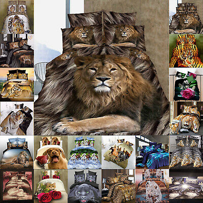 Animal Print Duvet Cover Set 3D Bedding With Pillow Case Double King Size New