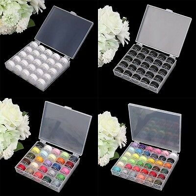 25/36Pcs Cotton Sewing Machine Thread String and Bobbins with Plastic Case NEW