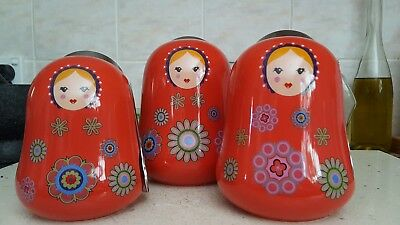 Babushka Nesting Doll Red Kitchen Canisters with Spoons